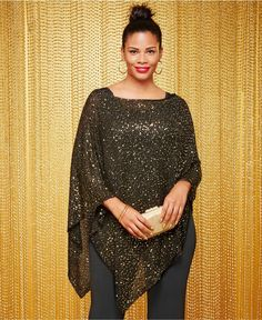 Plus Size Sequin Sheer Poncho