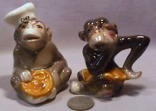 Vintage Chef & Maid Monkey S&P Shakers