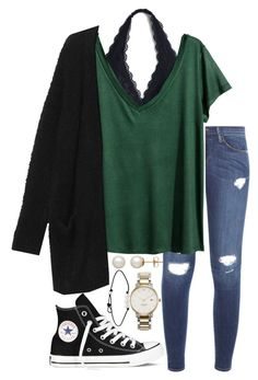 """Untitled #254"" by valerienwashington ❤ liked on Polyvore featuring Frame Denim, H&M, Monki, Converse, Kate Spade and Honora"
