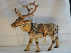 German Reindeer with Nodding Head. A Clock Work Toy. Antique Christmas Ornaments, German Christmas, Old Fashioned Christmas, Christmas Past, Primitive Christmas, Vintage Ornaments, Vintage Santas, Christmas Items, Country Christmas