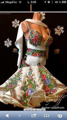 Russian folk style Latin dress