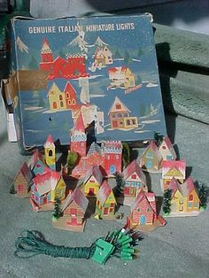 Vintage Christmas Village; putz