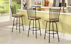 Linon Set of Three Metal Stools. The Three Piece Stool Set is perfect for adding seating to a home bar, kitchen island or pub set. The simple, sleek design is accented by a decorative simple styled back. The swivel seat and adjustable legs add versatility to this piece, allowing you to easily change the height of the seat. The brown finish allows this set to complement a range of home decor styles and color schemes. 275 pound weight limit.Features: Three Piece Set  Adjustable...