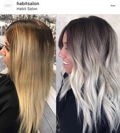 Hair Color Trends In 2019 Before & After: Highlights On Hair + Tips; Hairstyles, Hair Color Trends In 2019 Before & After: Highlights On Hair + Tips;Trendy Hairstyles And Colors Women Hair Colors; Ombre Hair Color, Cool Hair Color, Ash Ombre Hair, How To Ombre Your Hair, Trendy Hair Colors, White Ombre Hair, Hot Hair Colors, Different Hair Colors, Balayage Hair Blonde