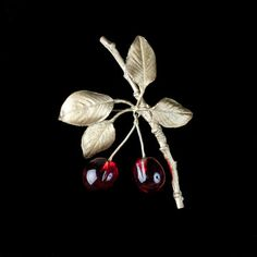 Morello Cherry Pin in bronze by Michael Michaud Hair Jewelry, Fine Jewelry, Jewellery, Cherry Blossom Flowers, Brooch Pin, Seasons, Christmas Ornaments, Holiday Decor, Creative