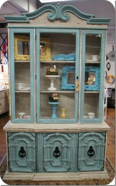 aqua hutch by A Sunday Afternoon Cool--I'd like to do something unexpected with the hutch