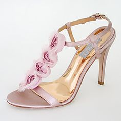 Musk pink rosettes pink gold sandals for wedding shoes - delightful