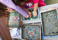 Fun idea for making mosaic stepping stones by @MaryLea Harris -- great for Mother's Day!
