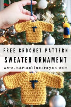 Crochet Sweater Ornament Free Pattern Crochet Sweater Ornament Free Pattern Ellanopinlimits ellanopinlimits AAB Puppenstube This adorable tiny sweater can be personalized for everyone in the nbsp hellip Crochet Christmas Decorations, Crochet Christmas Ornaments, Crochet Decoration, Christmas Crochet Patterns, Holiday Crochet, Crochet Gifts, Free Crochet, Easy Crochet, Beginner Crochet