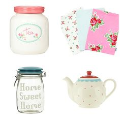 Ashley Thomas Tea Pot Tea Towels and Cross stitch jar Floral Pastel Designer Home Wares from Ashley Thomas