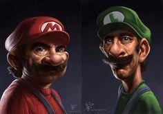 Italian thugs Mario & Luigi by Nuno Benito. via @angela4design by fromupnorth