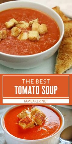 Learn how to make The Best Tomato Soup! This fall staple is easier than you think. Just mash everything in one pot and then blend it down to create a bowl of the most flavorful homemade soup. Paired with grilled cheese croutons, this is comfort food at its finest!