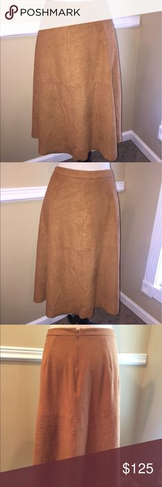 "Vince Camuto Faux Suede Zip Up Skirt EXCELLENT CONDITION!!!!!!! MIDI women skirt size 14W length 27"" side pockets New without Tags Vince Camuto Skirts Midi"