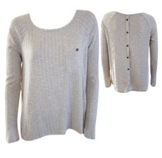 Button Back Ribbed Pullover - Oatmeal #shoppitaya