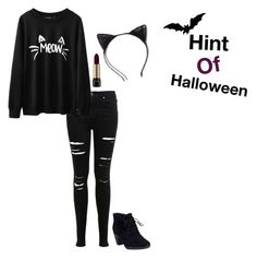 """Hint of Halloween!"" by thatdesign ❤ liked on Polyvore featuring Miss Selfridge, Lancôme and Clarks"