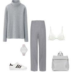 MINIMAL + CLASSIC: Grey on grey by driasmode on Polyvore featuring Uniqlo, Haider Ackermann, Calvin Klein Underwear, adidas Originals, Kara, Olivia Burton, Winter, simple and trends