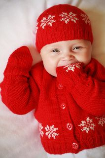 The pattern includes instructions for the entire set of cardigan, hat and mitts.