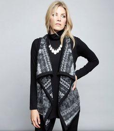 2e42624ddbb Karen Kane Gray Reversible Drape Vest Asymmetrical Sweater