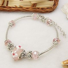 Elegant European Style Lampwork Bracelet, with Glass Beads and Bead Caps, Pink