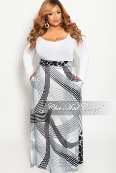 151ff8e14f Final Sale Plus Size Long Maxi Skirt in Grey Black and White Animal St –  Chic. Chic And Curvy