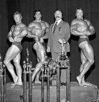 Ken Waller--1973 Mr. World, Lou Ferrigno--1973 Mr. America, Joe Weider and Arnold Schwarzenegger--1973 Mr. Olympia