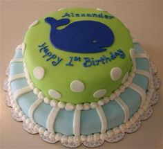 Preppy Whale Cake just the top layer