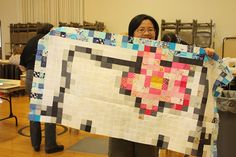 Modern Quilt: Hello Kitty! What other pixel quilts could we do?