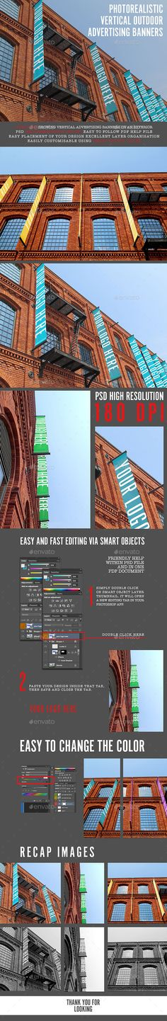 Photorealistic Vertical Advertising Banners - Signage Print