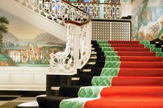 Main Staircase ~ Greenbrier WV. This is a must-see Hotel. There is an underground bunker built during World War 2 to house the Washington elite.  B