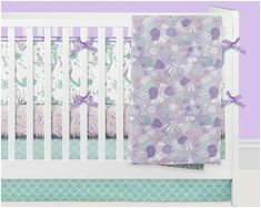 Gorgeous lavender purple and mint crib bedding for your mermaid theme baby girl nursery!