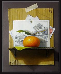 My first trompe l'oeil. I enjoyed painting the details! 11X20 oil on canvas By David Stevenson