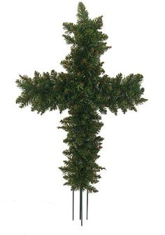 """$19.99-$24.99 36"""" Green Pine Artificial Cross Shape Wreath with Ground Stakes - Unlit -  http://www.amazon.com/dp/B003XEB91Y/?tag=pin2wine-20"""