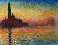 Zonsondergang in Venetië Kunstdruk