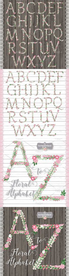 Rustic Floral/feather Alphabet Clipa