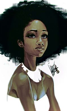 Artist: Mel Milton, 2014 {contemporary figurative artist female character illustration african-american black woman face portrait photoshop digital painting #loveart #Melmade #dookin}