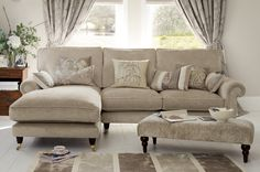 Kingston Upholstered Chaise End Sofa - Left Hand Facing - Laura Ashley made to order Sectional Sofa With Chaise, Living Room Sectional, My Living Room, Living Room Decor, Beige Sectional, Chaise Lounges, Laura Ashley Sofa, Laura Ashley Living Room, Ashley Sectional