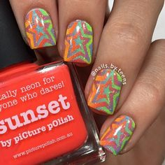 Rainbow Star Swirls by @nails.by.teens   It's a perfect mani to brighten up your Monday! Star Swirl Nail Vinyls snailvinyls.com