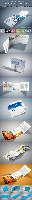 Square Tri-Fold Brochure Mock-Ups on Behance