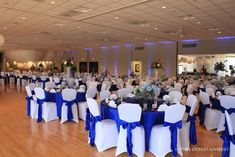 blue and black reception | and their photographers were katie and mike with k design
