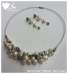 beach boho look natural pearls shells white silver grey RebelSoulEK necklace and earrings
