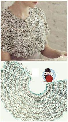 Col Crochet, Crochet Lace Collar, Crochet Coaster Pattern, Crochet Edging Patterns, Crochet Cape, Crochet Diagram, Crochet Scarves, Crochet Motif, Crochet Designs