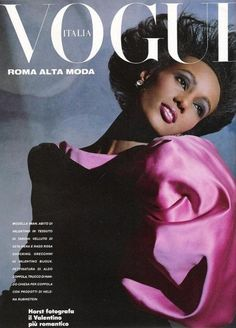 """Appears on the cover of March Italian Vogue, photographed by Norman Parkinson. After successfully completing her first modeling assignment for Vogue in 1976, Iman has built an illustrious fashion portfolio including countless magazine covers, editorial spreads, starring in Michael Jackson's """"Remember The Time"""" video and creating cosmetics for women of color."""