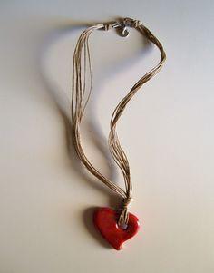 collana girocollo in spago di lino e ceramica