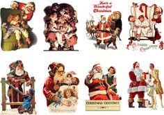 "Stickers (8pics 2.5""x3.5""ea) FLONZ Craft 441-0309 Vintage Christmas Santa n Kids   eBay"