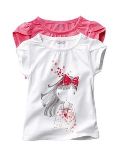 Pack of 2 Girl's T-Shirts Pink + white