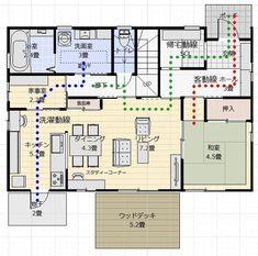 間取り成功例39坪 楽しく家事・子育ての和やかな家 | アトリエコジマ~注文住宅理想の間取り作りと失敗しないアイデア・実例集~ Apartment Layout, Deco, My House, House Plans, New Homes, Floor Plans, House Design, Japan, Flooring