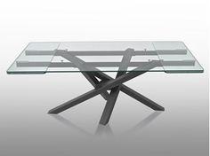 Ausziehbarer rechteckiger Tisch aus Kristall SHANGAI | Ausziehbarer Tisch
