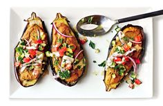 Keep things light and simple this summer with a vegetarian falafel-stuffed eggplant recipe.