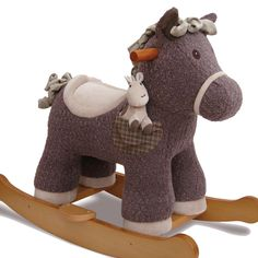 Bobble is a huggable rocking horse who carries his little friend Pip, wherever he goes! He has a luxurious textured bouclé fabric body and a super soft scrunchy faux suede mane and tail. His sturdy wooden frame comes complete with detachable footplates. Suitable from 9 months +. Seat Height: 34cm (approx). The maximum recommended weight allowance is 20kg (44lbs). Assembled product dimensions 64 x 35 x 52cm.