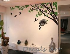 Wall Art Stickers Nursery Vinyl Decals Ideas For 2019 Tree Wall Painting, Simple Wall Paintings, Tree Wall Murals, Tree Wall Art, Wall Decor Stickers, Wall Decals, Vinyl Decals, Bedroom Wall Designs, Wall Drawing